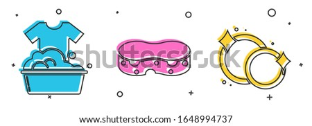 Set Plastic basin with soap suds , Sponge  and Washing dishes  icon. Vector