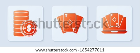 Set Playing card with diamonds, Casino chip with dollar and Online poker table game. White square button. Vector