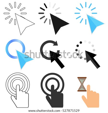 Set pointers computer mouse, computer mouse pointer vector, cursor vector, illustration cursor. Flat design, vector.