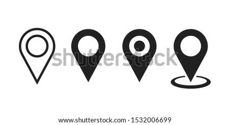Set pointers isolated vector icons on white background great design for any purposes. Linear icon. Location icon map pin pointer. Navigation pointer sign. EPS 10