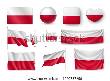 set poland flags  banners