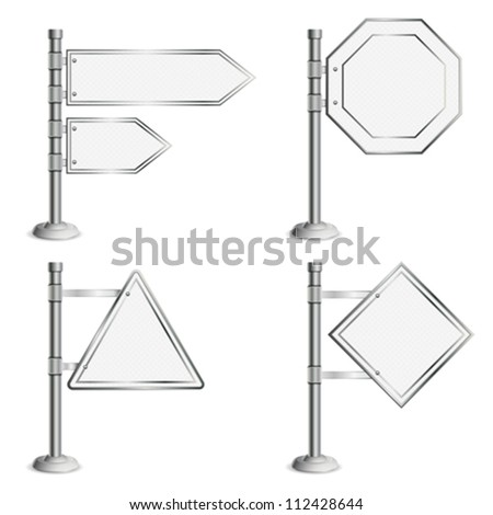 Set Poles with Blank Traffic Signs, isolated on white background, vector illustration