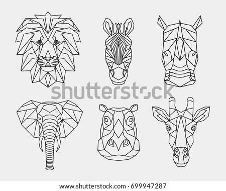 Set polygon animals of Africa. The geometric heads of a lion, rhino, zebra, giraffe, hippo, elephant. Vector.