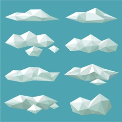 Set polygonal clouds of various shapes. Vector clouds.
