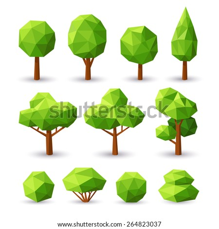 set polygonal trees and bushes