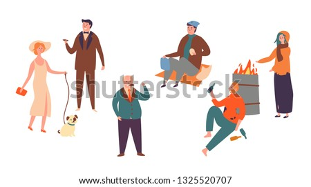 Set Poor Rich Character Socialclass Inequality. Homeless man and Women and Successful Rich People. Contrast in Social Economic Classes Isolated on white Background Flat Cartoon Vector Illustration