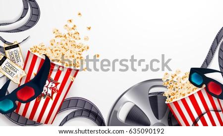Set:popcorn,3d glasses,cinematograph tape reel,cinema ticket.Drawn vector illustration,realistic cinematography design,vintage background,art for online cinema,movie, film,editable elements under mask
