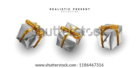 Set presents. Silver gift boxes realistic design. Isolated on white background