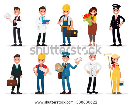 Set professions: waiter, doctor,  electrician, florist, pilot, businessman, engineer, postman, cook, painter. Vector illustration in a flat style