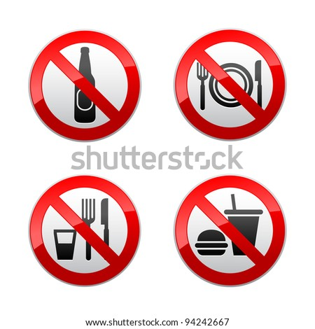 Set prohibited signs - cafe