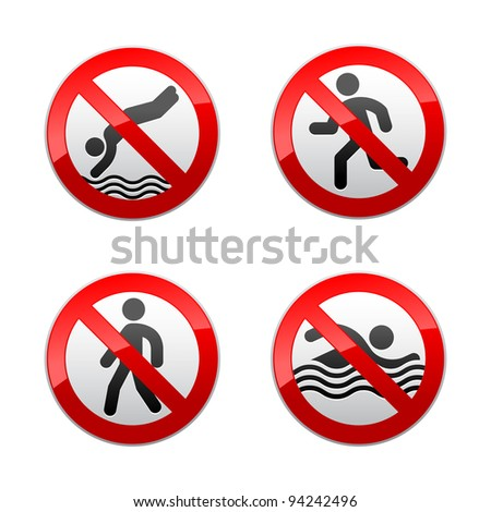 Set prohibited signs - supermarket symbols - stock vector