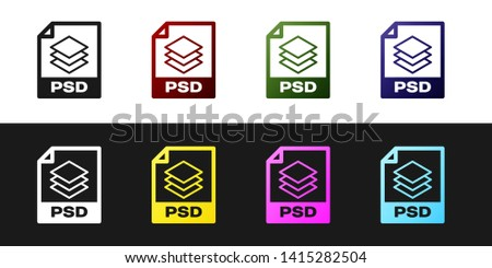 Set PSD file document icon. Download psd button icon isolated on black and white background. PSD file symbol. Vector Illustration