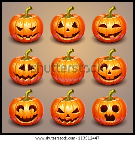 Set pumpkins for Halloween - stock vector