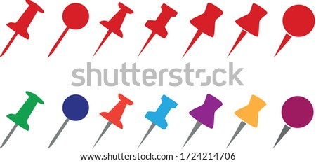 Set push pin (drawing pin) sign icons for web site, page and mobile app design element. Push pins pinned in different angles. Stylish red and multi-colored sets.