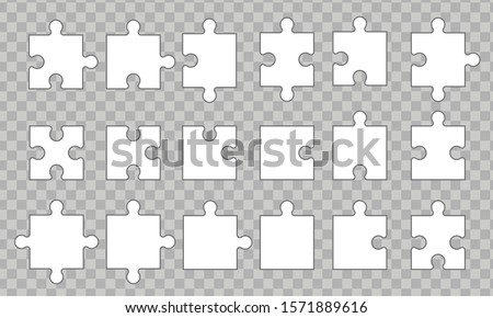 set puzzle pieces isolated on