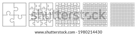 Set puzzle pieces, template puzzle jigsaw isolated, puzzles grid collection - stock vector
