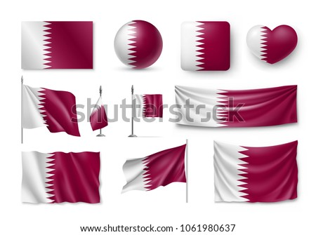 Set Qatar flags, banners, banners, symbols, flat icon. Vector illustration of collection of national symbols on various objects and state signs