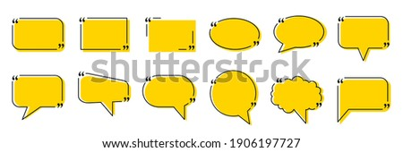 Set quote box frame, texting quote blank template boxes, design boxes quotation bubble blog symbols, bubble blog quotes symbols – stock vector