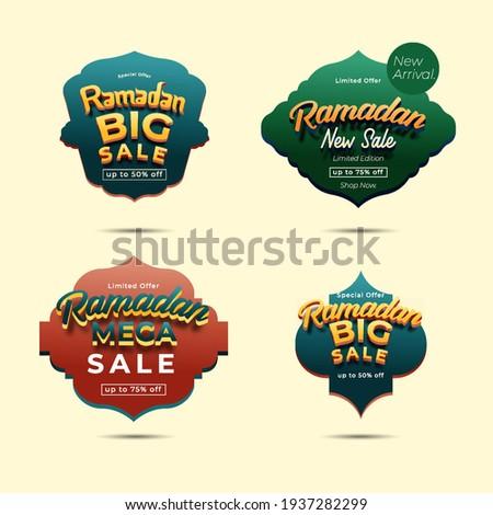 Set ramadan banner sale, sticker, tag, discount, label. Big Sale, Mega Sale, New Sale. ramadan kareem and Eid Mubarak vector illustration.