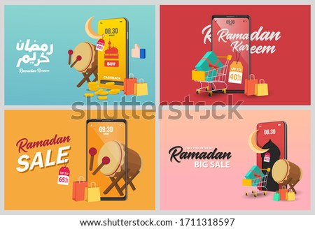 Set Ramadan sale banners set,discount and best offer tag, label or sticker set on occasion of Ramadan Kareem and Eid Mubarak, vector illustration