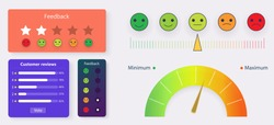 Set rating star. Concept of survey, award symbol, blog excellent frame banner ui, ux design. Modern feedback survey template. Colorful emotion smiles from rage to satisfied. Feedback vector form