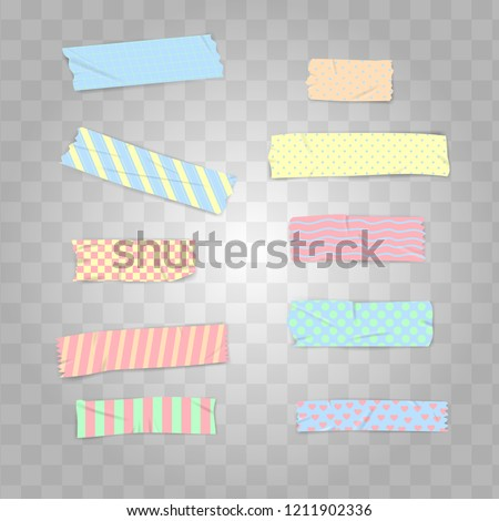 Set Realistic Pastel Colour Washi Tape Vector Illustration #1211902336