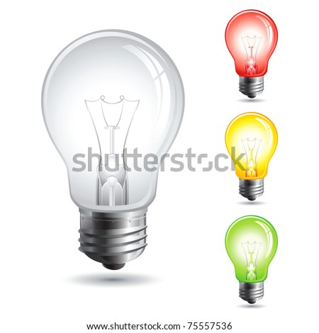Set realistic vector illustration of a light bulb isolated on white.Traffic lights. - stock vector