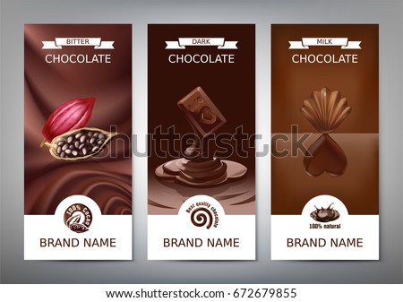 Set realistic vector vertical banners with milk, dark and bitter chocolate. Template, design element for packaging with melted chocolate
