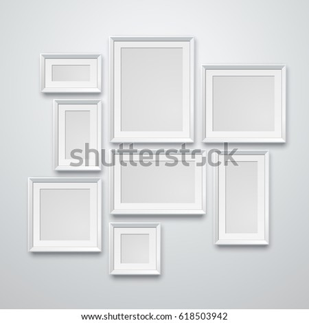 Set realistic white frame on white wall. Vector illustration. Template for your design