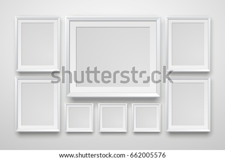 blank photo frame hanging on wall - Download Free Vector Art, Stock ...
