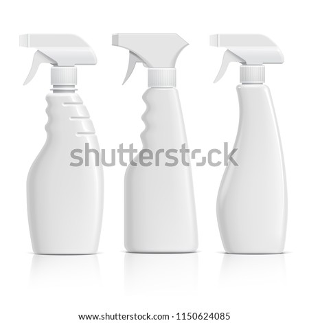 Set Realistic white Plastic bottles can Spray Pistol. Object, shadow, and reflection on separate layers. Vector illustration