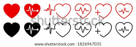 Set red and black heart, pulse one line, cardiogram sign, heartbeat  Photo stock ©
