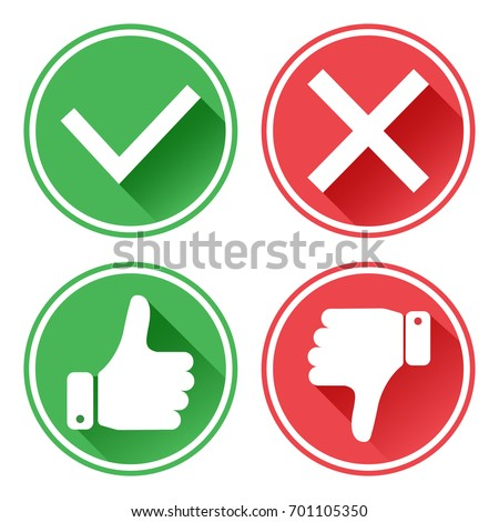Set red and green icons buttons. Thumb up and down. Confirmation and rejection. Like and dislike. Vector illustration.