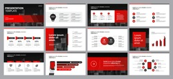 set red business presentation backgrounds design template and page layout design for brochure ,book , magazine,annual report and company profile , with infographic elements graph design concept