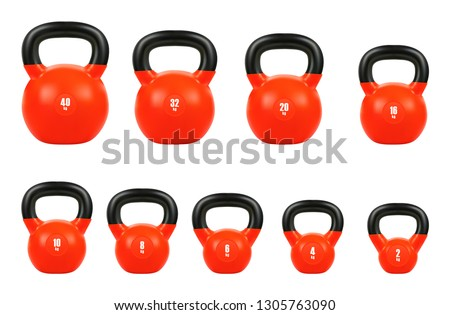 set red kettlebell, Gym equipment 40, 32, 20, 16, 10, 8, 6, 4, & 2 kg, 3d realistic isolated on white background, EPS 10