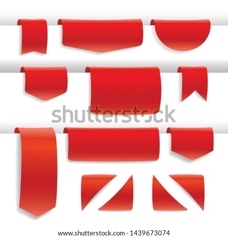 set red stickers label ribbon, banner for offer discounts, empty space for your text, bookmarks, golden tags isolated on white background with shadow, vector illustration