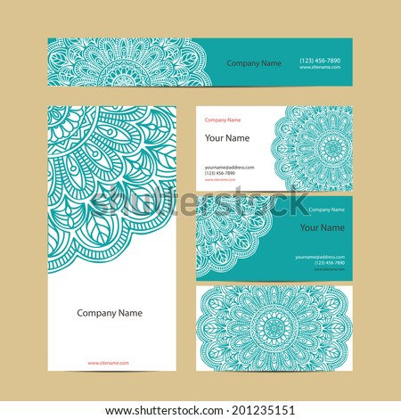 Set retro business card Vector background Card or invitation Vintage decorative elements Hand drawn background Islam Arabic Indian ottoman motifs