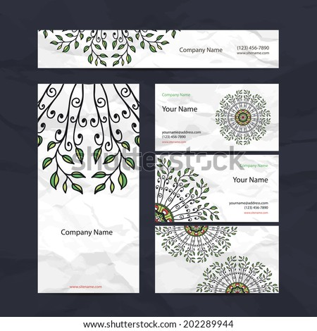 Set retro business card. Vector background. Card or invitation. Vintage decorative elements. Hand drawn background. Islam, Arabic, Indian, ottoman motifs.