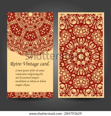 Set retro business card. Vector background. Card or invitation. Vintage decorative elements. Hand drawn background. Islam, Arabic, Indian, ottoman motifs. EPS