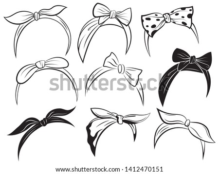 Set retro headband for woman. Collection of bandanas for hairstyles. Black and white windy hair dressing illustration. Foto stock ©