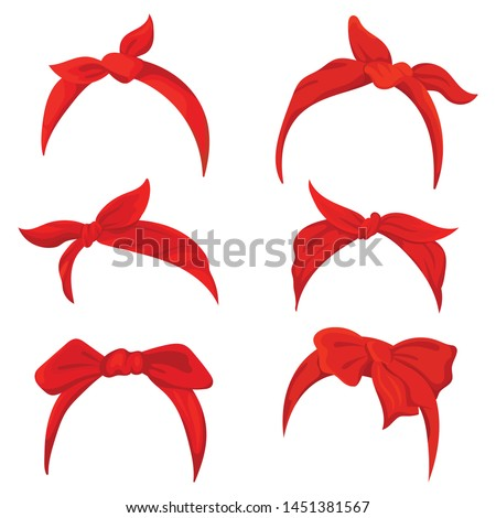 Set retro headband for woman. Collection of red bandanas for hairstyles. Windy hair dressing illustration. Foto stock ©