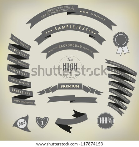 set retro ribbons and label /vector collection