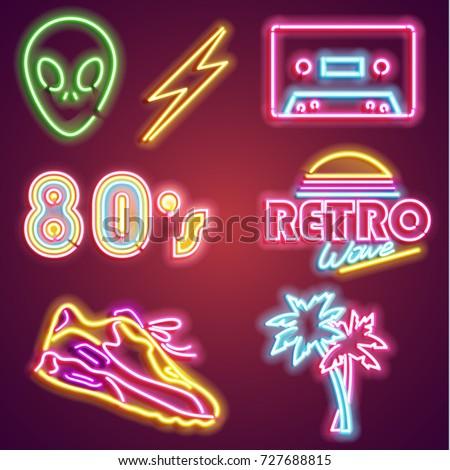 set retrowave neon sign neon