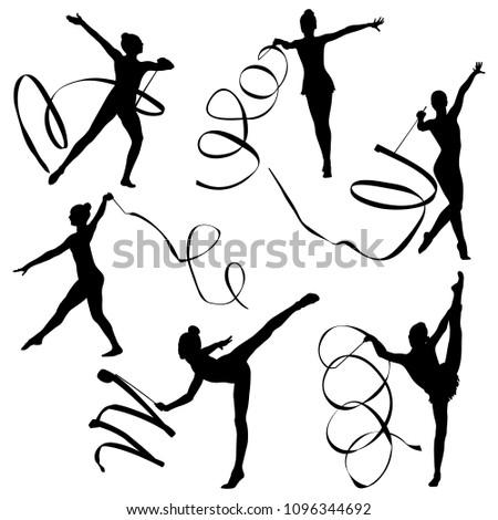set rhythmic gymnastics women gymnasts exercise with ribbon