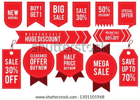 Set ribbon banner and label sticker sale offer and badge tag sale advertising. Flat labels, ribbons and tags for advertising. Vector illustration EPS.8 EPS.10