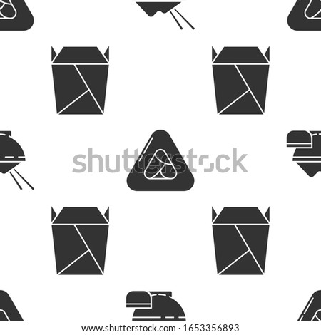Set Rice in a bowl with chopstick, Sushi and Rstaurant opened take out box filled on seamless pattern. Vector