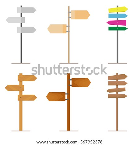 Set road signs made of wood or metal for your design project. Isolated on white background. Vector, illustration EPS10.