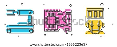 Set Robot, Printed circuit board PCB and Robot icon. Vector stock photo