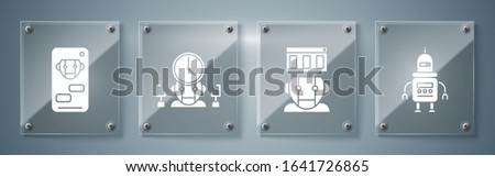 Set Robot, Robot, Robot and digital time manager and Bot. Square glass panels. Vector