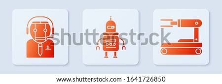 Set Robot, Worker robot and Robot. White square button. Vector
